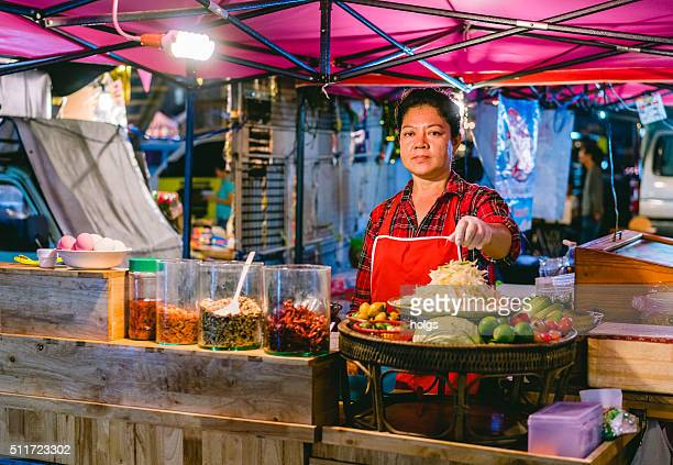 Street shop in the night market in Bangkok