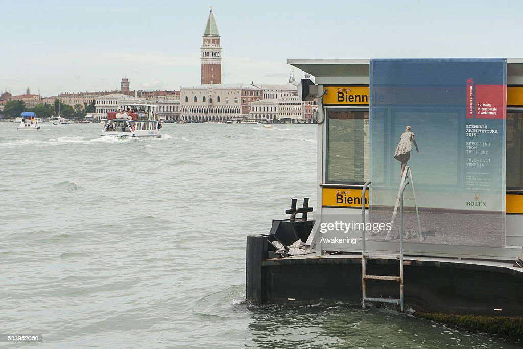 A street sign announcing the 15th Architecture Venice Biennale on May 24, 2016 in Venice, Italy. The 56th International Architecture Exhibition of La Biennale di Venezia will be open to the public from May 28, 2016 in Venice, Italy.