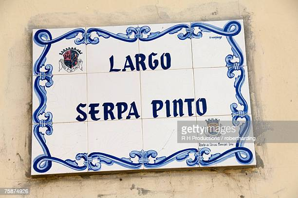 Street sign at one of the main squares, Sao Filipe, Fogo (Fire), Cape Verde Islands, Africa
