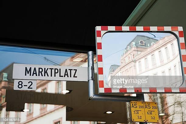 Street sign for the Marktplatz in Darmstadt, Hesse, Germany