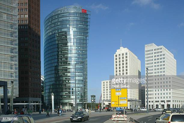 A street sign gives directions among newlyconstructed buildings at Potsdamer Platz on October 12 2004 in Berlin Germany Potsdamer Platz which once...