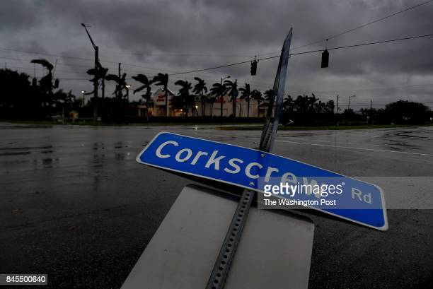 A street sign in Estero Florida is bent over after Hurricane Irma came through with the lead band of strength A Sunday tour of the area around Bonita...