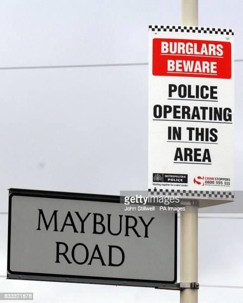 A street sign in Maybury Road Barking Essex where police have cordoned off Law House this morning following the discovery of a twoyearold girl who...