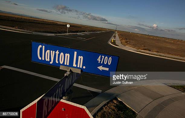 A street sign is seen on a vacant street after construction was halted at a 750home housing development November 20 2008 in Rio Vista California The...