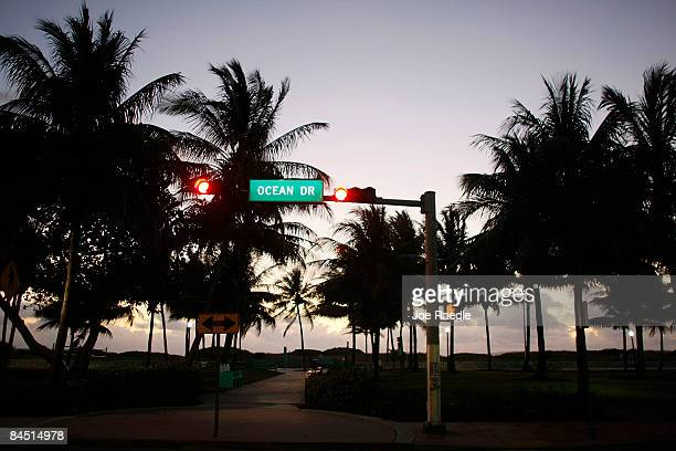 A street sign marks the famed Ocean Drive strip in the morning on January 28 2009 in Miami Beach Florida As the economic downturn continues the...