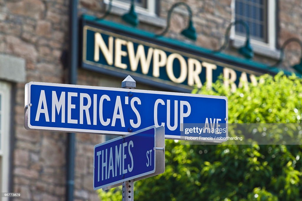 Street sign reflecting Newport's sailing and historic heritage at the junction of America's Cup Avenue and Thames Street in Newport, Rhode Island, New England, United States of America, North America
