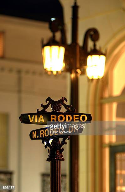 A street sign stands at the corner of Via Rodeo and Rodeo Drive January 12 in Beverly Hills CA Rodeo Drive claims to be the worlds most prestigious...