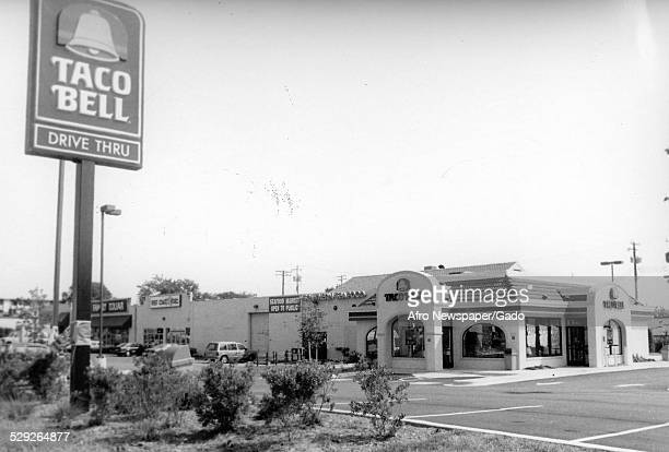 Street signs at a Taco Bell restaurant July 16 1994