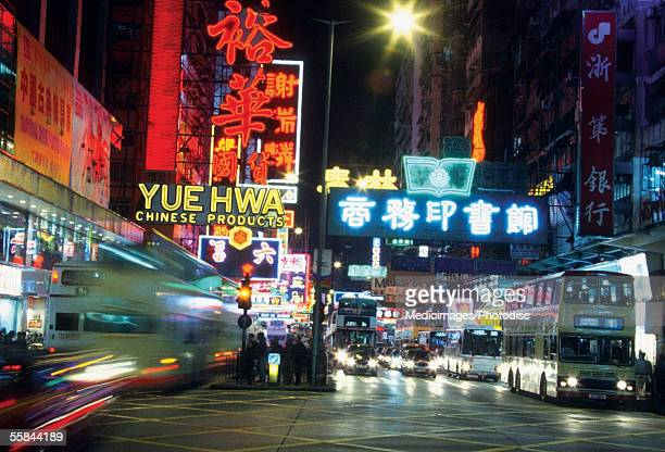 Street signs at night, Hong Kong, China