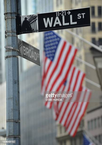 Street signs at the corner of Wall and Broad Streets at the New York Stock Exchange August 8 2011 The Dow Jones Industrial Average fell 155 percent...