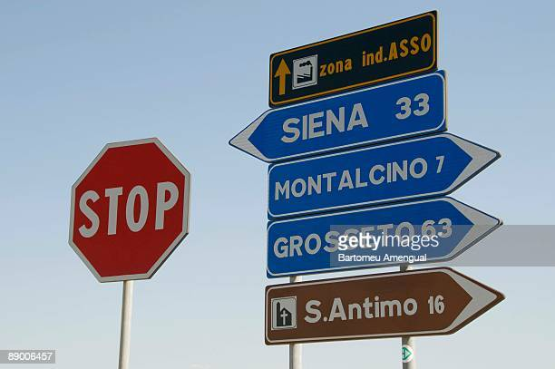 Street signs in Tuscany, Italy