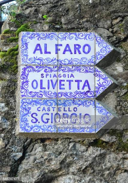 Street signs made with azulejos, Portofino, Italy