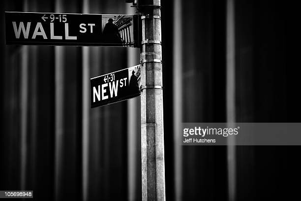 Street signs overlook the New York Stock Exchange in the heart of New York's financial district on Wall Street on April 8 2009 in New York City