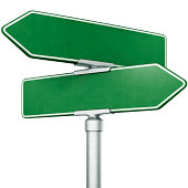 3d rendering of blank signs pointing in opposite directions