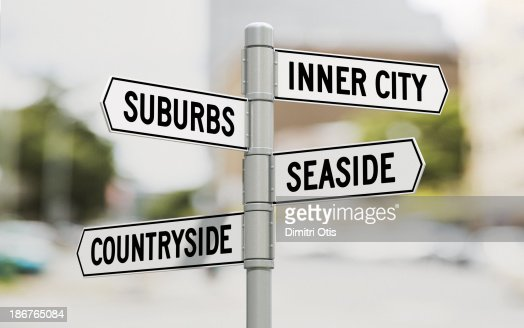 Street signs showing residential area options