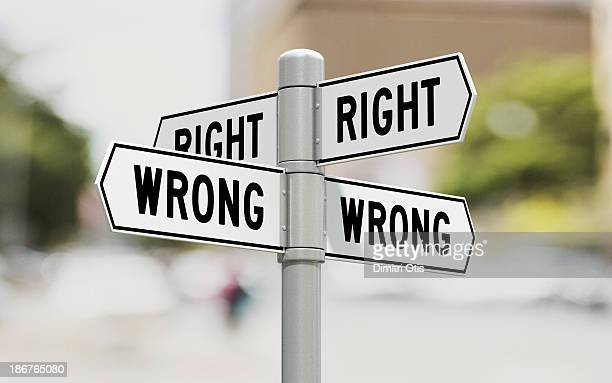 Street signs showing right and wrong options
