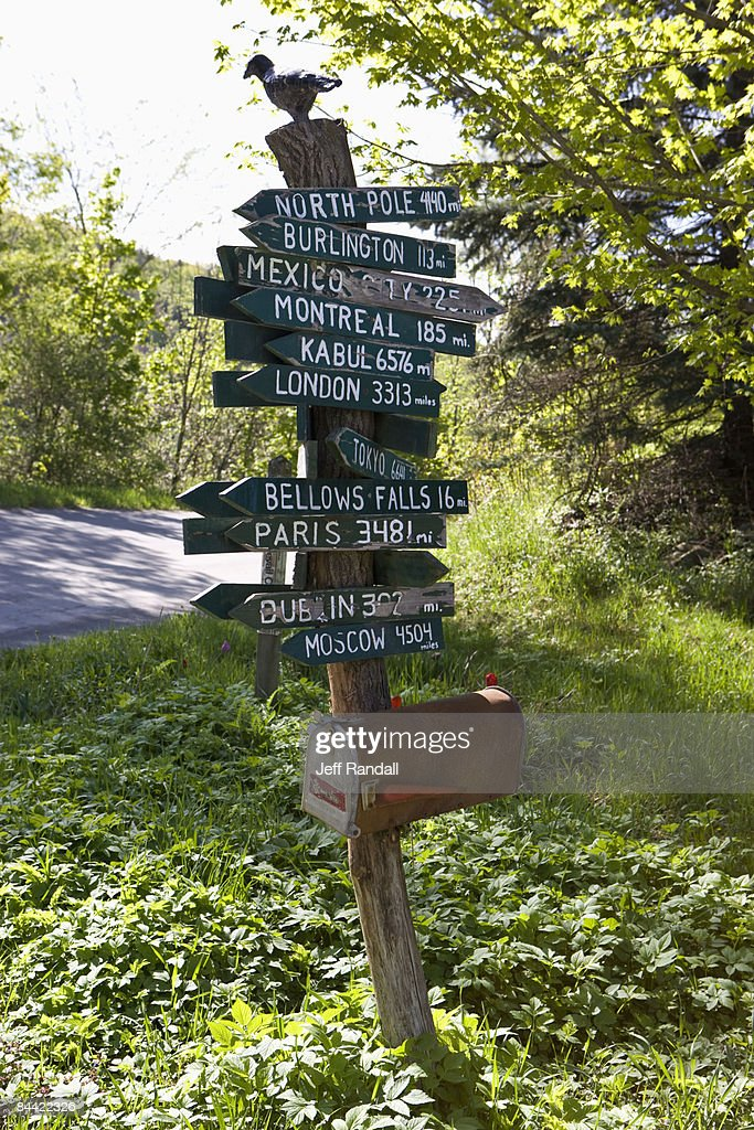 Street signs to exotic locales on small road : Stock Photo