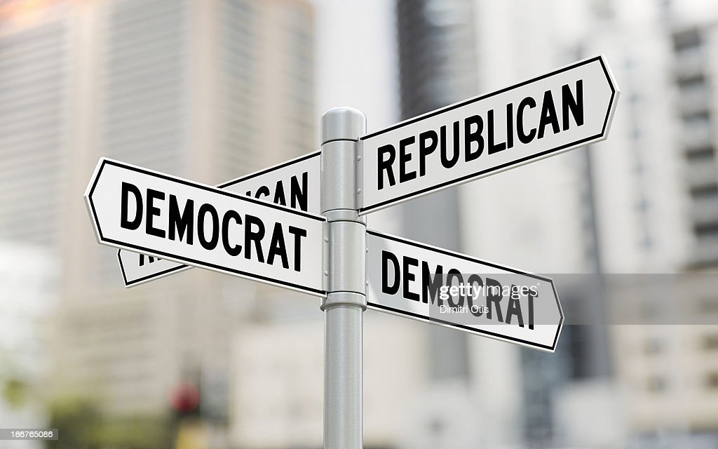 Street signs with Republican and Democrat options