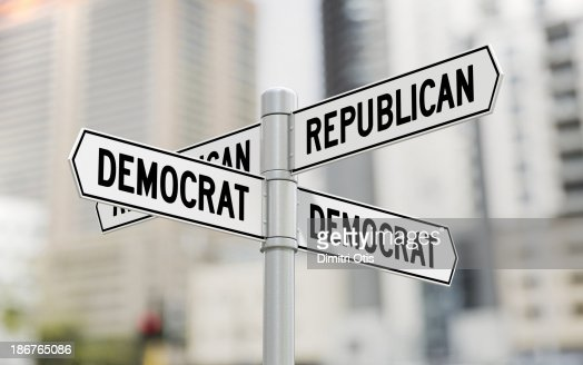 Street signs with Republican and Democrat options : Stock Photo