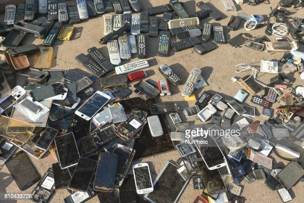 A street space with old cellphones for sale seen in Rabat's medina On Friday June 30 in Rabat Morocco