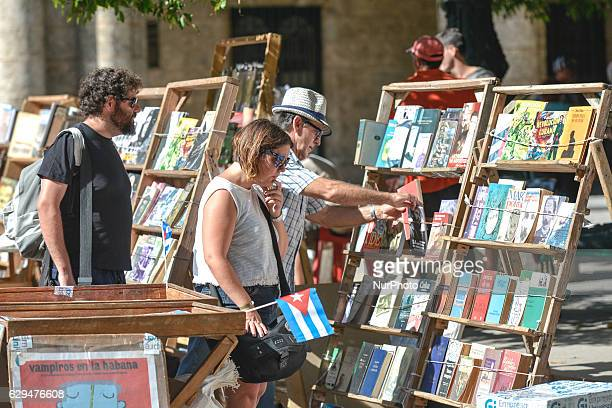 A street stand with books posters suvenirs and memorabilia for sale in Havana's city center Since the 24th May the Cuban Government legalized small...