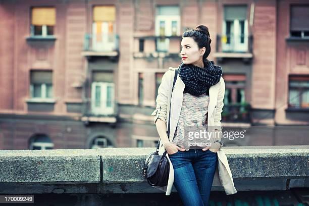 Street style vintage Mode-Porträt