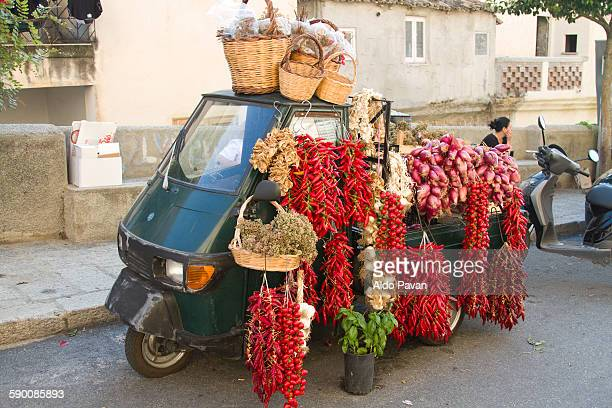 Street vendor chili and red onion of Tropea