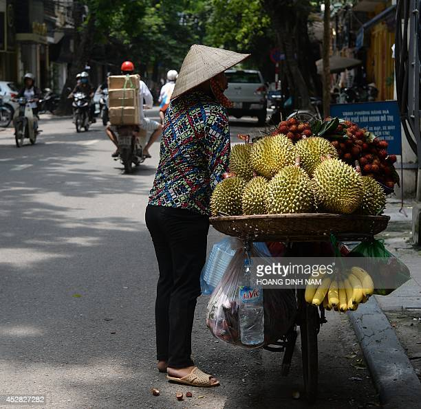 A street vendor hawks fruits along a street in downtown Hanoi on July 28 2014 Gross domestic product expanded 518 percent in JanuaryJune from the...