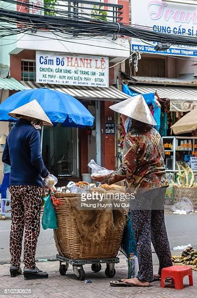 Street vendor of Bread Ho Chi Minh Vietnam Street vendor is very popular in Vietnam