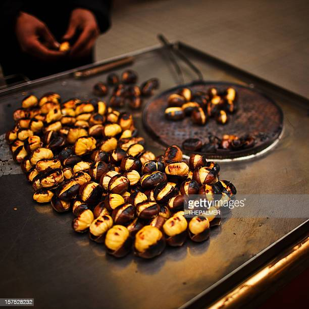 Street vendor roasting chestnuts
