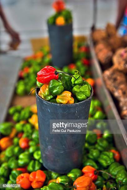 Street vendor selling Caribbean peppers at Cienfuegos town in Cuba