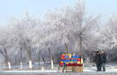 A street vendor sells apples along as road December 18 2002 in Almaty Kazakhstan RussianKazakh relations have increased throughout the past year with...
