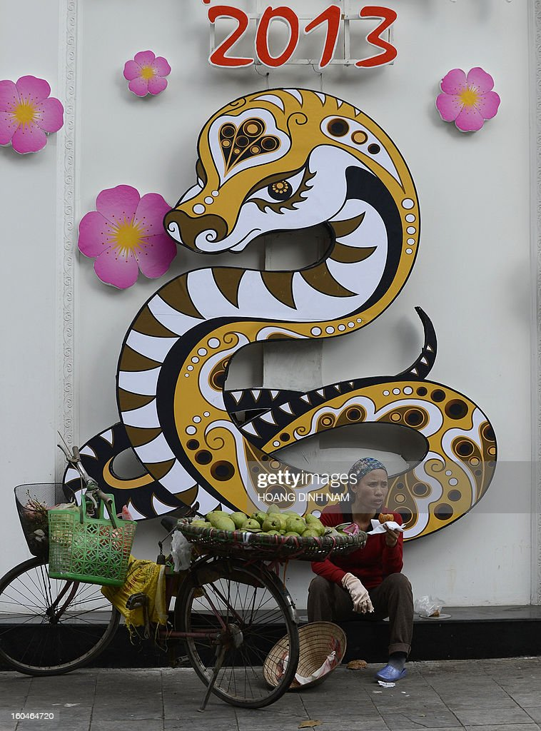A street vendor sits next to a Chinese lunar year of the snake decoration (back) outside a business in downtown Hanoi on February 1, 2013. The streets and businesses in the Vietnamese capital are being colorfully decorated as Vietnamese prepare to celebrate the Chinese lunar new year of the snake on February 10. AFP PHOTO/HOANG DINH Nam