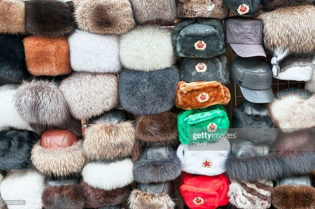 Street vendor's display of hats - Russian style : Stock Photo