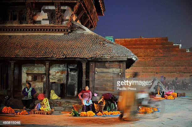 Street vendors selling flower garlands on the occasion of Navami 9th day of Dashain Festival at Basantapur Durbar Square Dashain is the most...