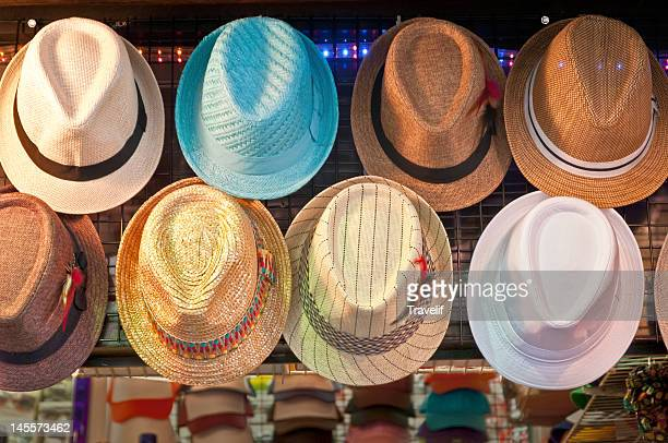 Street vendor's summer hat display