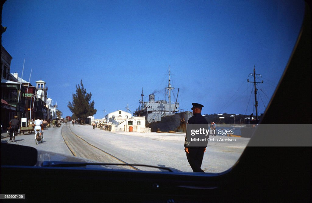 A street view of a Naval ship, taken from a car in Bermuda.