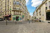 street view of Montmartre in Paris, France