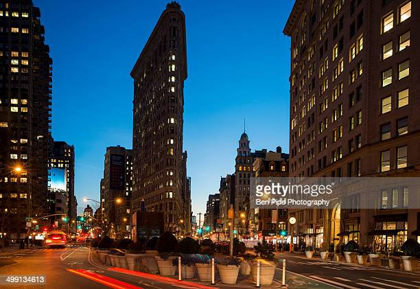 Street view of New York with Flat Iron Building in view
