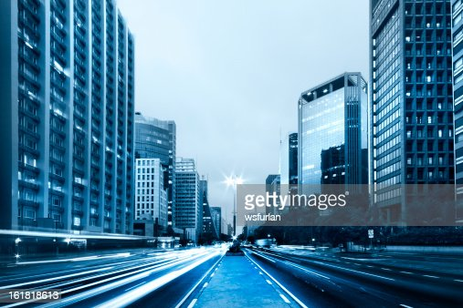 Street view of Paulista Avenue with buildings on each side