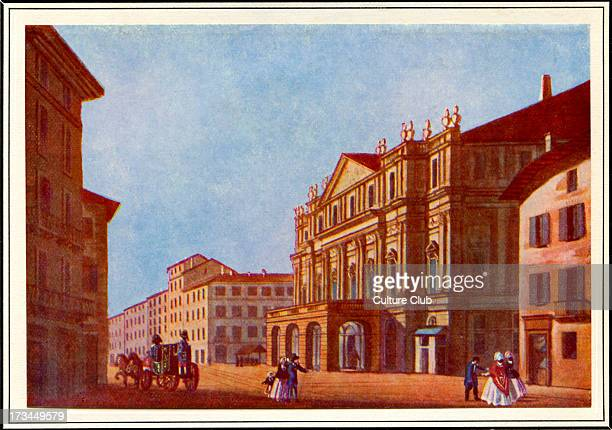 Street view of Teatro alla Scala Opera house in Milan Italy Inaugurated on 3 August 1778 and originally known as the New RoyalDucal Theatre at La...