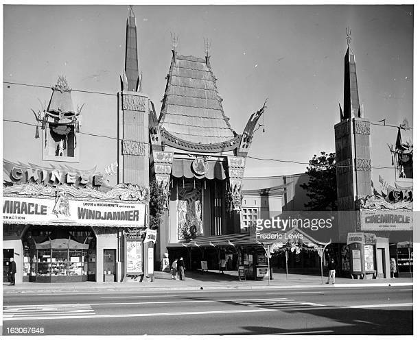 A street view of The Grauman's Chinese Theater In Hollywood California 1955