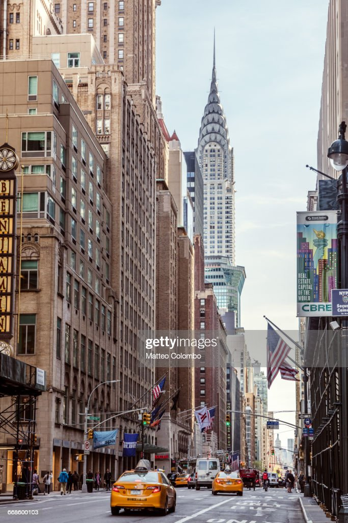 Street View With Chrysler Building New York Usa Stock Photo