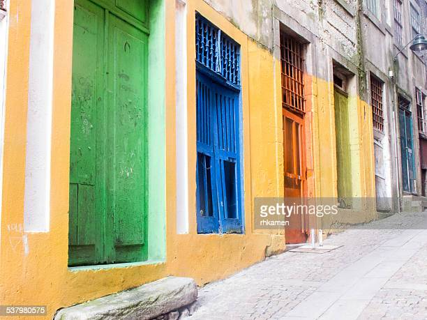 Street with colorful doors, Porto, Portugal