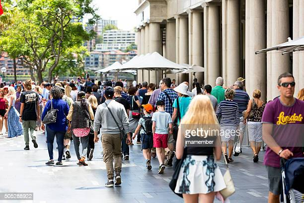 Street with crowd of people, tourist and sightseers