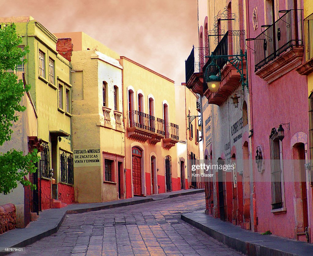 Street with mood in Zacatecas Mexico