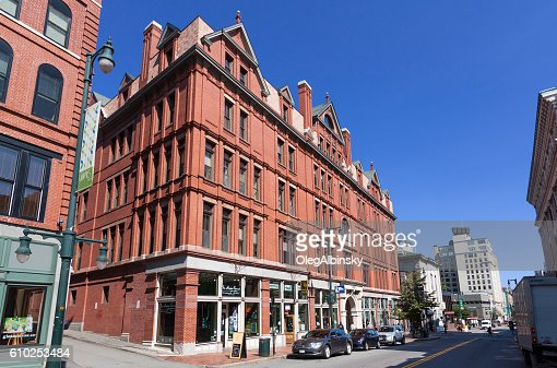 Street with Red Brick Buildings, Portland, Maine, New England, USA.