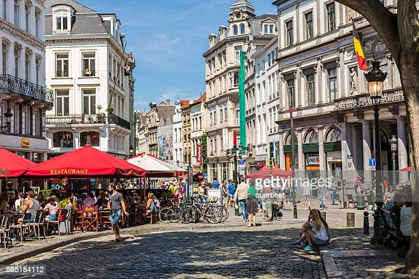 Street with restaurants in Brussels