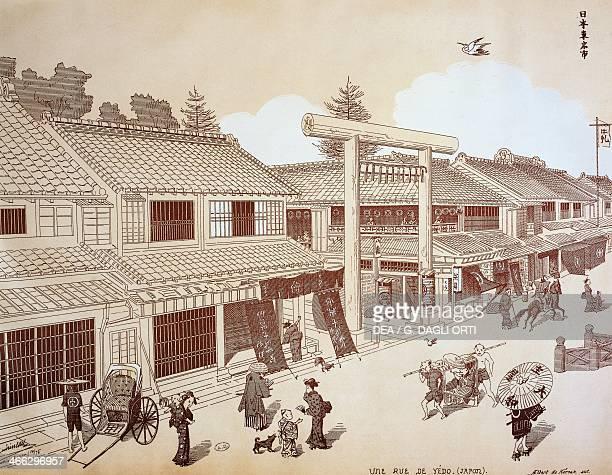 Street with shops in Yedo near Edo engraving Japanese civilisation Meiji period 18681912