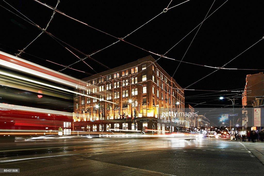 TTC streetcar crossing Spadina Avenue in Toronto : Stock Photo